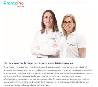 Andrea y Leticia de Umami Nutrición en el blog de ProntoPro