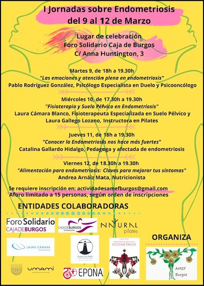 Cartel para las I Jornadas sobre Endometriosis Burgos